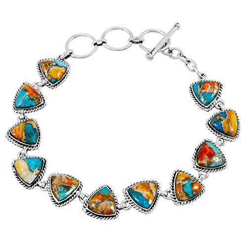 Turquoise Bracelet Sterling Silver 925 Genuine Turquoise Gemstones Link Bracelet (Spiny Turquoise)