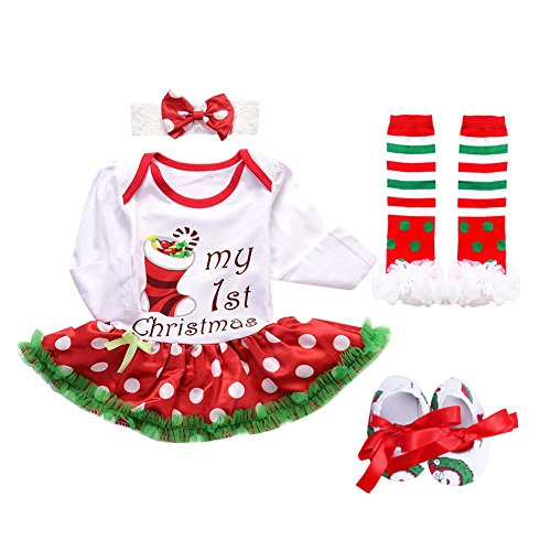 Baby Girls 1st Christmas Santa Costume Outfits Xmas Newborn Infant Romper Tutu Dress 3PCs/4PCs Headband Leg Warmers Shoes Set
