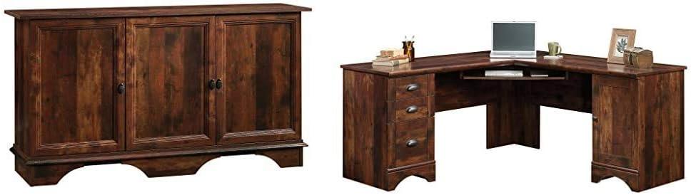 Sauder 420122 Viabella Storage Cabinet, Curado Cherry Finish & Harbor View Corner Computer Desk, Curado Cherry Finish