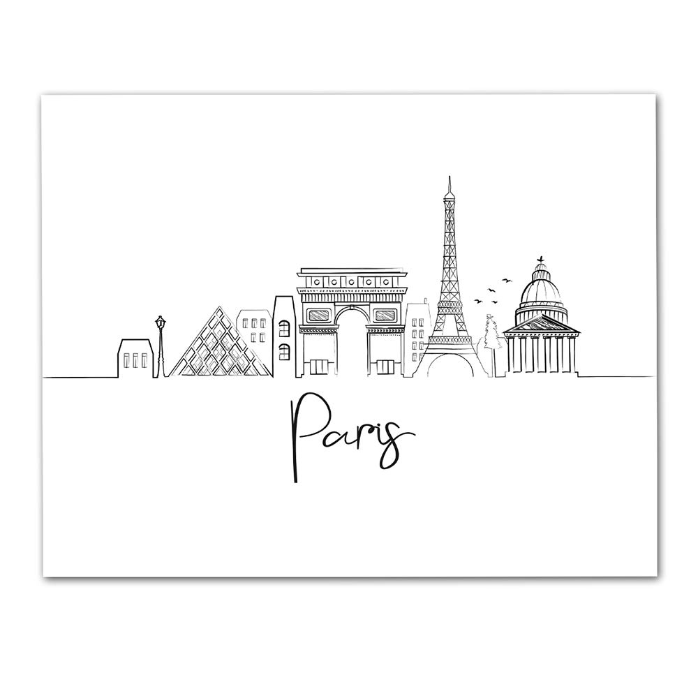 Amazon Com Paris Skyline Wall Art Unframed 11 X 14 Black White Lineart Print Makes A Great Gift For Family And Friends Handmade