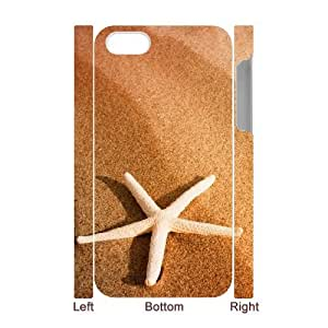3D iPhone 4/4s Case,Starfish And Sand Hard Shell Back Case for White iPhone 4/4s