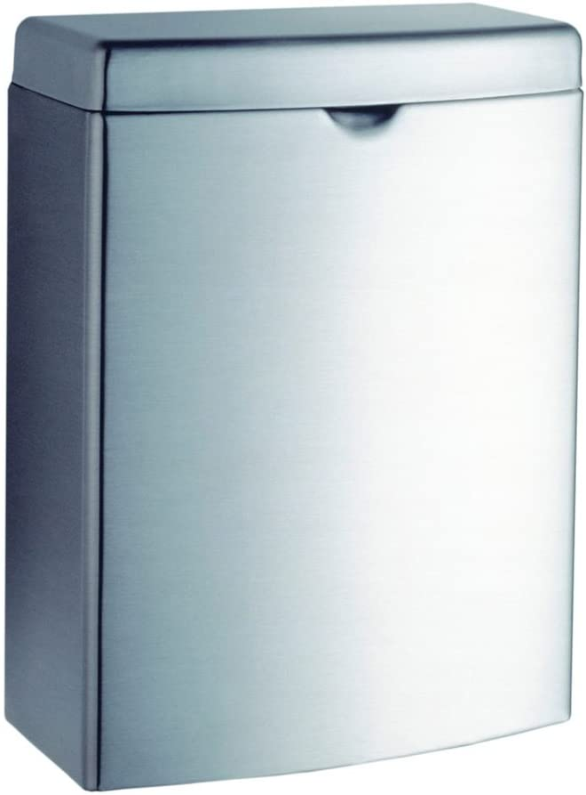 Bobrick B-270 Sanitary Napkin Disposal, Contura Series Surface Mount 1.0-Gallon - Satin Finish Stainless Steel