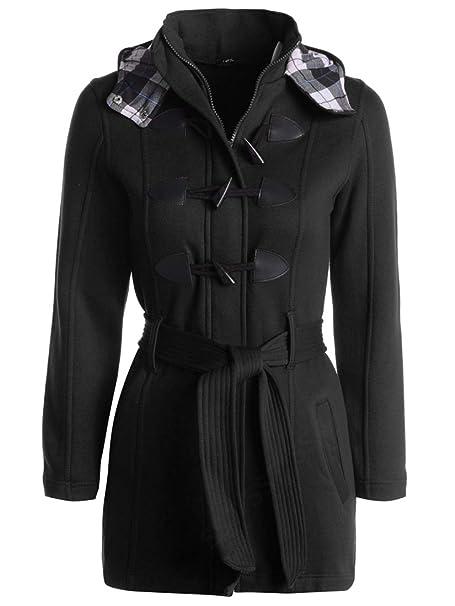 20 22 24 26 Ladies Fleece Jacket Duffle Style Hooded Toggle Check Pocket Coat