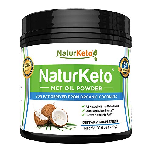 Organic Coconut MCT Oil Powder: Pure Keto Friendly Powdered Dietary Supplement for Weight Loss, Healthy Gut, Appetite Control & Clean Energy Performance: Natural, Non GMO, Vegan & Gluten Free - 10.6oz