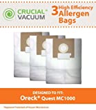 3 Oreck Quest MC1000 Canister Vacuum Bags, Fits Oreck Quest MC1000 Canister Vacuums, Compare to Part # PK12MC1000, Designed & Engineered by Crucial Vacuum by Crucial Vacuum