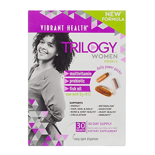 Vibrant Health Trilogy for Women A Multivitamin, Fish Oil, and Probiotic, 30 Packets