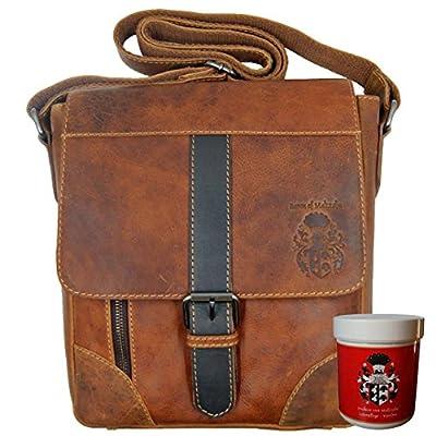 chic BARON of MALTZAHN Shoulder bag LAMARCK, 11 in, brown, Mens, Scottish leather + leather care