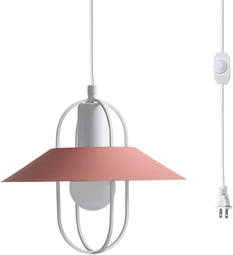 Kiven Industrial Plug In Pendant Lighting Fixtures With 15 Ft Hanging Cord And On Off Dimmer Switch For Kitchen Sink Dining Room Entryway Pink Metal Fixture Amazon Com