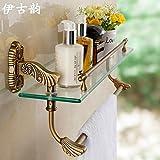JinRou Unique design style European antique glass dressing table shelf with towel bar single-tier bathroom rack