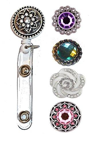 Hidden Hollow Beads Snap Interchangeable Jewelry Reel Lanyard, Women's Fashion Reel Lanyard, Reel for Keys, ID Badge Holder. (Round Reel)