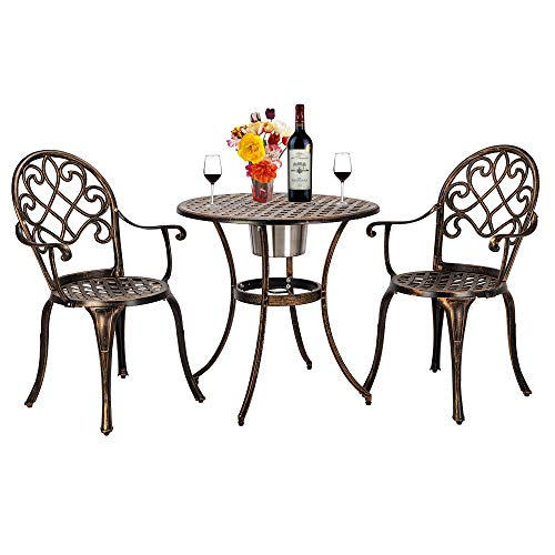 Table and Chair Set Round Patio Terrace Metal Table and Chairs European Style Cast Aluminum Outdoor 3 Piece Patio Bistro Set of Table and Chairs with Ice Bucket Bronze 3 Piece Bronze Pub Table