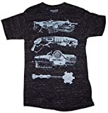 Bioworld Gears of War 4 Weapons Mens Black Space Dye T-Shirt (X-Large)
