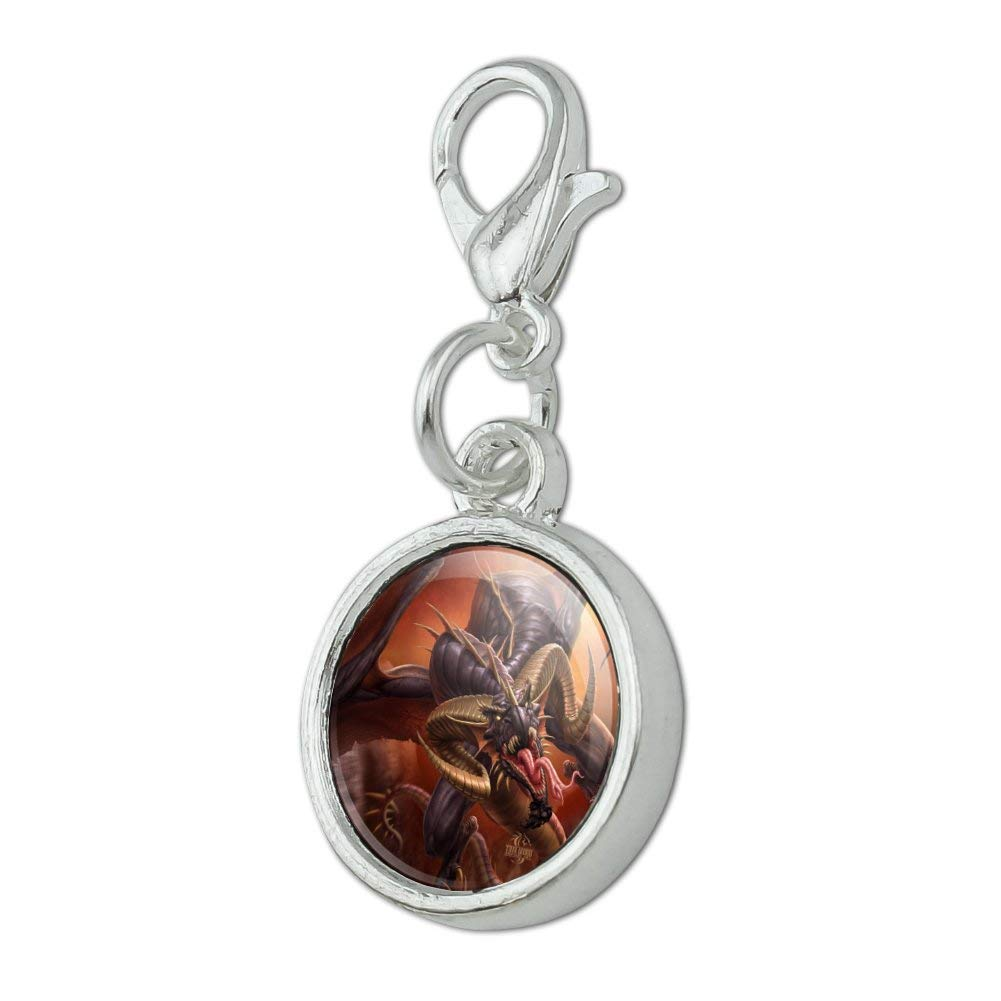 GRAPHICS /& MORE Fast Flying Dragon Coming at You Fantasy Antiqued Bracelet Pendant Zipper Pull Charm with Lobster Clasp