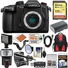 Panasonic Lumix DC-GH5S Wi-Fi C4K Digital Camera Body with 128GB Card + Battery + Backpack + Flash + Video Light + Microphone Kit