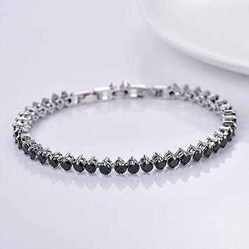 Amazon.com  Jewelryamintra Womens Black Topaz Crystal Beaded White ... e0dba2b51