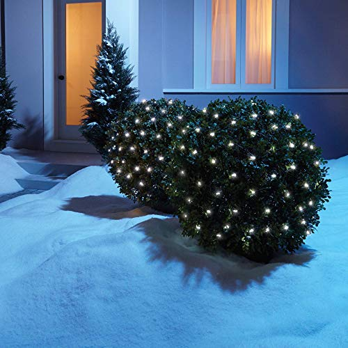 NOMA LED Net Christmas Lights | 100-Count Mini Lights | 4 ft x 4 ft Mesh | Outdoor/Indoor | Perfect for Bushes or Trees | Clear Pure White (Outdoor Net Lights Trees For)