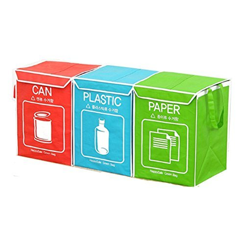 Recycle bin Separate Bag Wastebaskets Trash Can Compartment with Cover and Inner Frame