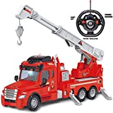 Rexco Large Radio Remote Controlled Rc Red Fire Engine Truck Rescue Brigade Vehicle Childrens Kids Battery Operated Power Toy Gift With Light And Sound