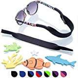 Baby Glasses and Sunglasses Strap 2pk | Active Kids with Bonus Stickers (Purple + Pink)