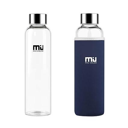MIU COLOR® 550 ML Botella de Agua de Cristal Respetuoso con el Medio Ambiente, sin BPA portátil Botella de Deporte, a Prueba de Fugas Tapa de Acero ...