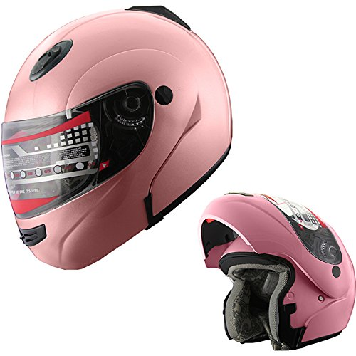 MRC Motorcycle Flip up Modular Full Face DOT Snowmobile Helmet with Anti-Fog Shield Pink (M) from MRC
