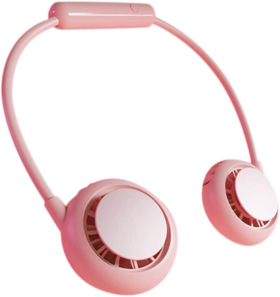 XALO Wearable Cuello del Ventilador, Que Cuelga del Cuello De Manos Libres Ventilador Mini USB 3-Velocidad Silencioso Ventilador del Radiador Plegable, Viajes Oficina De Deportes Al Aire Libre,Rosado