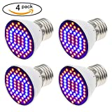 Yi-Create LED Grow Light Bulb, AC110V/220V, E27/E26, SMD 3528 60LEDs Blue & Red Chips, 4W Grow Lamp For Plant Growth and Flowering Results (4PCS/Pack)