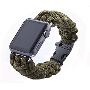 Amazon Apple Watch BandENlifeR 42mm Army Green Rope
