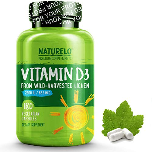 NATURELO Vitamin D - 2500 IU - Plant Based - from Lichen - Best Natural D3 Supplement for Immune System, Bone Support, Joint Health - Whole Food - Vegan - Non-GMO - Gluten Free - 180 Capsules