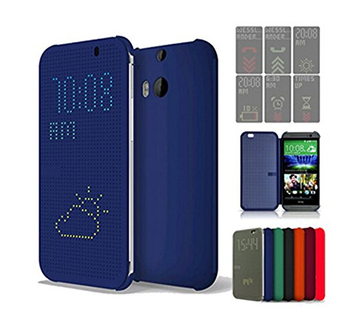 Microtimes FOR HTC ONE M8 2014 DOT VIEW HC M100 FLIP CASE COVER (blue)