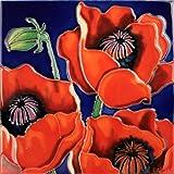 "Decorative Ceramic Art Tile - 8"" x 8"" - Red Poppies"