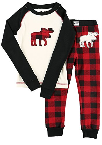 Moose Plaid Kids Long Sleeve Pajama Sets by LazyOne | Fun Soft Animal Pajamas (6)