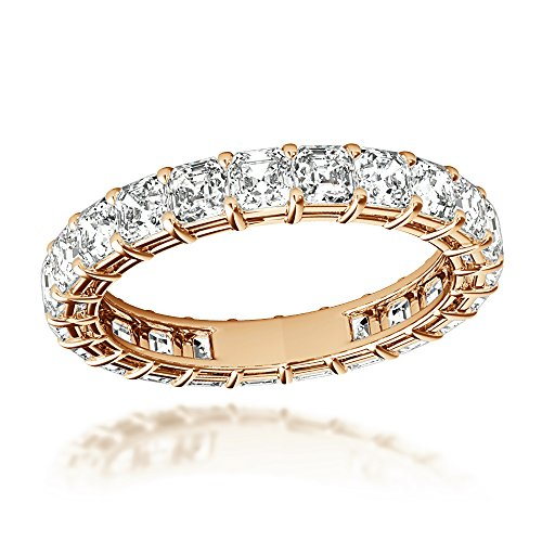 - 18K Gold Asscher Cut Diamond Eternity Ring Anniversary Ladies Band 3ctw G-H color (Rose, Size 6)