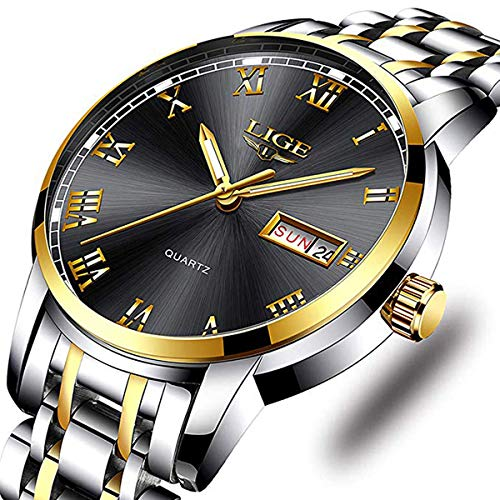 Watches Mens Full Steel Quartz Analog Wrist Watch Men Luxury Brand LIGE Waterproof Date Business Watch (Best Mens Luxury Watches 2019)