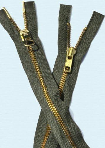 ZipperStop Wholesale Authorized Distributor YKK36 Jacket Zipper YKK #52-way Brass ~ Separating~ YKK Color 567 Olive Green 1 Zipper//pack