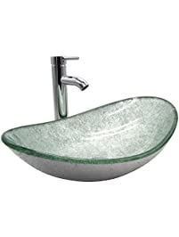 Doitpower Bathroom Oval Silver Green Glass Vessel Sink Bowl With Chrome Faucet And Pop Up Drain
