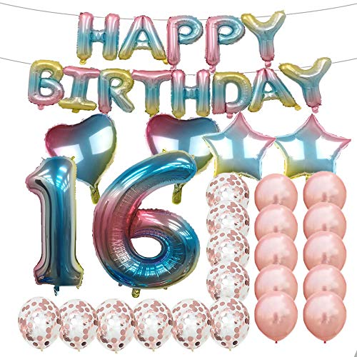 Sweet 16th Birthday Decorations Party Supplies,Rainbow Number 16 Balloons,16th Foil Mylar Balloons Rose Gold Latex Balloon Decoration,Great 16th Birthday Gifts for Girls,Women,Men,Photo Props ()
