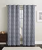 2 Charcoal Lenox Thermal Insulated Woven Blackout Window Curtain Grommet Panels – Pair -76″W x 96″L inch Long For Sale