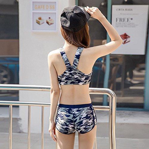 da Wading tre da Dark manica Camouflage Color Spa blue Costumi Royal adatti sportivi Sports bagno il Xiaoqin in nuoto Costumi da Muta bagno per bagno M Blue Size Costumi pezzi lunga donna Bn8AqP