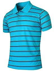 BCPOLO Men's Stripe Pique Polo Shirt Short Sleeve Polo Shirt-blue XS