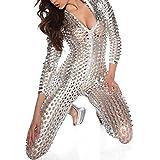 Wonder Pretty Women Jumpsuit Catsuit Silver Romper