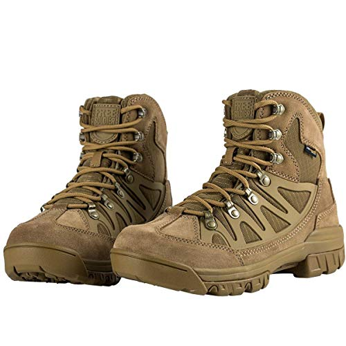 (FREE SOLDIER Men's Outdoor Tactical Boots 6 Inches Breathable Suedu Leather Military Hiking Boots (Coyote Brown, 12.5 US) )