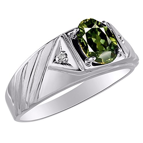 Exotic Green Sapphire & Diamond Ring set in 14K Yellow or 14K White Gold