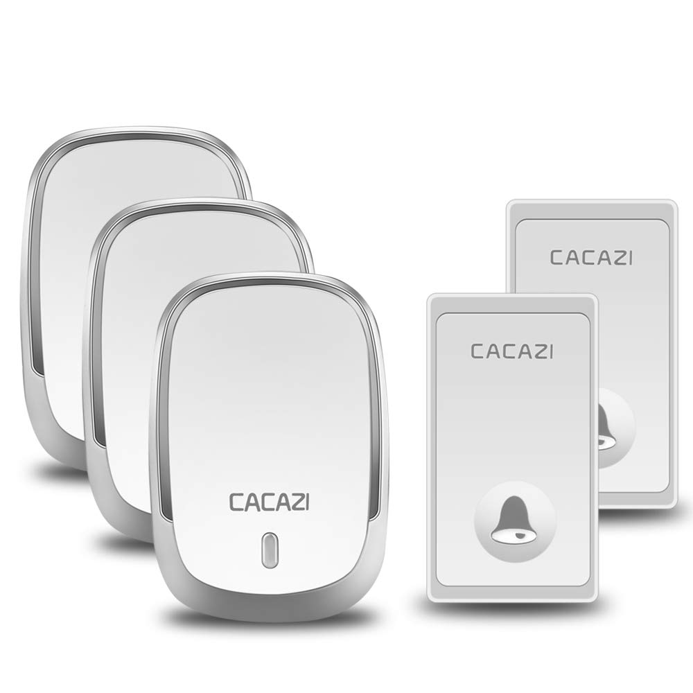 Self-powered Wireless Doorbell, CACAZI Waterproof Door Chime Kit Operating at Over 650 Feet 2 Button with 3 Plug-In Receiver, 36 Chimes, LED Flash, No Battery Required (2 Button + 3 Receiver, Silver)