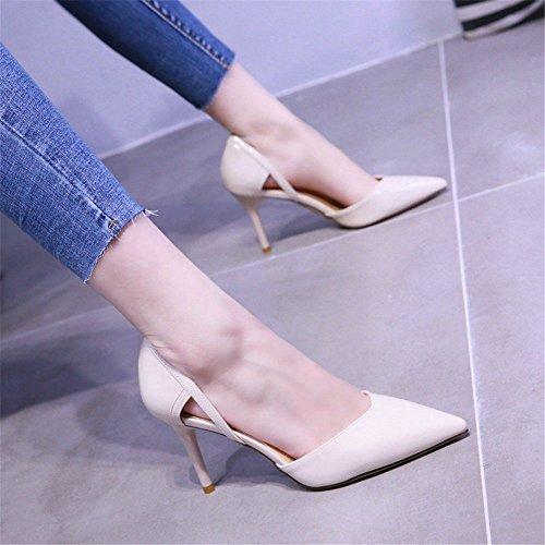 de y Primavera Boca white Trabajo Altos de Zapatos Moda de Sexy YMFIE tacón Zapatos Aguja Tacones de Hueca de Verano creamy qYAnS
