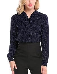 Meaneor Women Bow Tie Chiffon Cuffed Sleeve Blouse Polka Dot Button Down Shirt