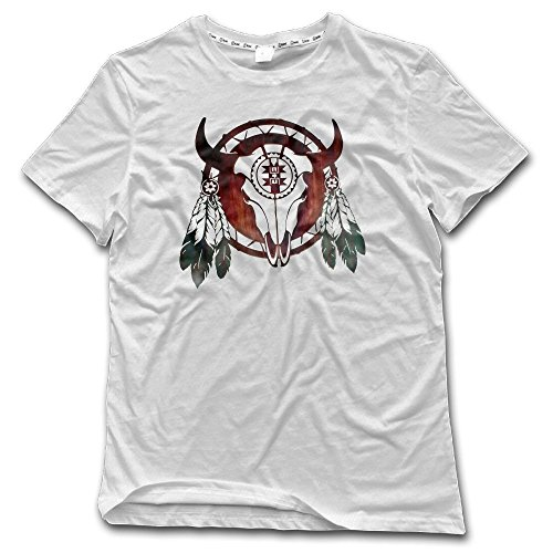 (Poii Qon Crew Neck Short-Sleeve Tshirts Buffalo Skull Arrowhead Indian Cotton)