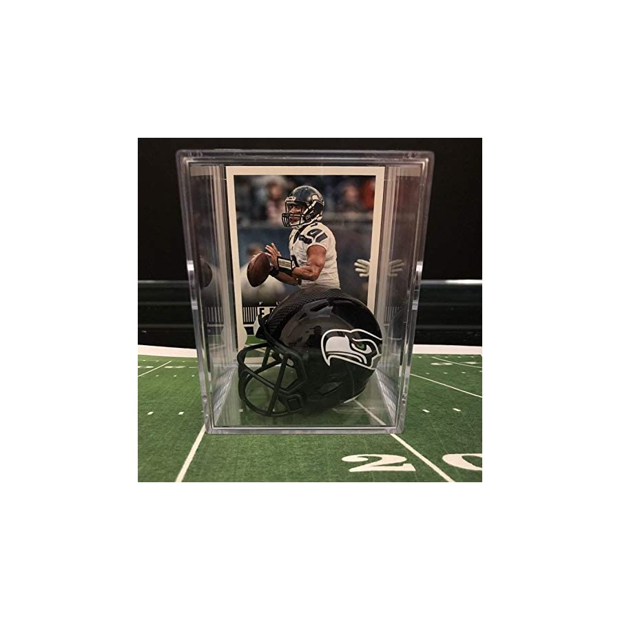 Seattle Seahawks NFL Helmet Shadowbox w/Russell Wilson card