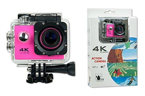 Camara Deportiva S6 4K ROSA 30fps WIFI Alta Definicion Videocamara Resistente al Agua 16MP Angulo de 170 grados Pantalla LCD de 2 pulgadas