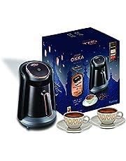 ماكينة تحضير القهوة التركي مع 2 كوب وقهوة تركية 100 جم مينيو من ارزوم اوكا - اسود وذهبي